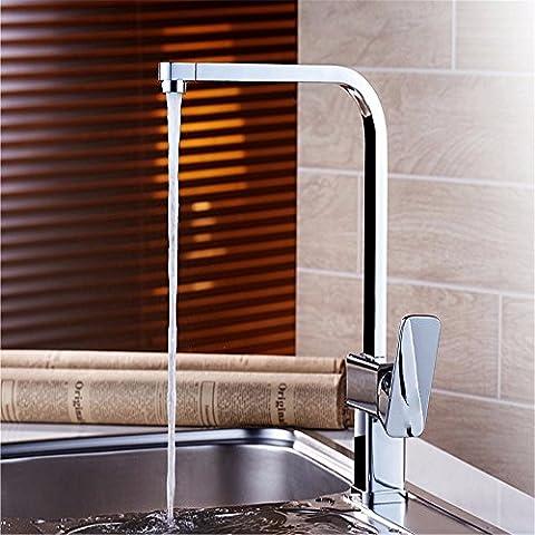 Lostryy en cuivre seule poignée simple trou carré universel rotatif robinet de cuisine chaude et froide robinet d
