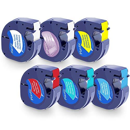 6 x Plástico Cintas Etiquetas Compatible Dymo LetraTag