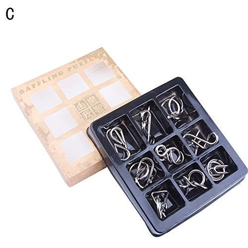 atz Metallpuzzle Wire IQ Brain Teaser Spiel Montessori Kinder Stress Relief Spielzeug für Erwachsene - C ()