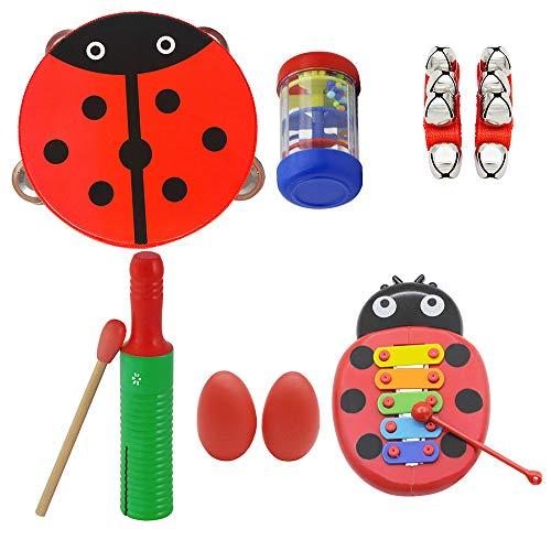 Festnight Kinder Musikspielzeug, Schlaginstrumente Rhythmus-Set Tamburin Holz Guiro Glockenspiel Rain Stick Handbells Ei-Form Maracas für Kinder Kleinkinder