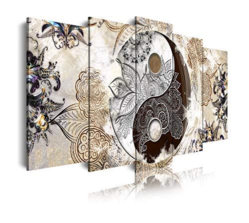 dekoarte 473, Cuadro moderno en lienzo, estilo etnico ying y yang,beig, 5 piezas (200x100x3cm)