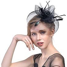 JZK Negro vendimia flor malla pluma fascinador sombrero de velo con clip y banda para la cabeza sombrero de la boda sombrero de ascot fiesta del partido del ...