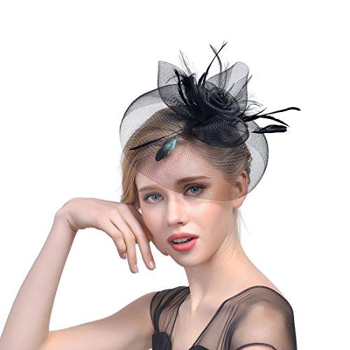 JZK Dame Vintage Fascinator Blume Kopfbedeckung Kopfstück Feder Haar Zubehör mit Clip & Stirnband, Elegant Haarschmuck hut für Cocktail Party Hochzeit (Schleier, schwarz) (Klassische Derby-hut)