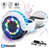 COLORWAY Overboard Gyropode Hover Scooter Board Bluetooth 6.5 Pouces, Scooter Electrique Moteur 700W, Self-Balance Board avec Roues LED Flash, E-Scooter Auto-équilibrage (Blanc)