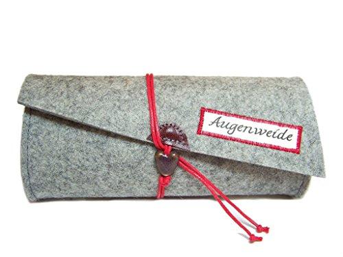 Brillenetui, Täschchen Wollfilz Filz Farbauswahl Leder + Kordel mit Spruchauswahl