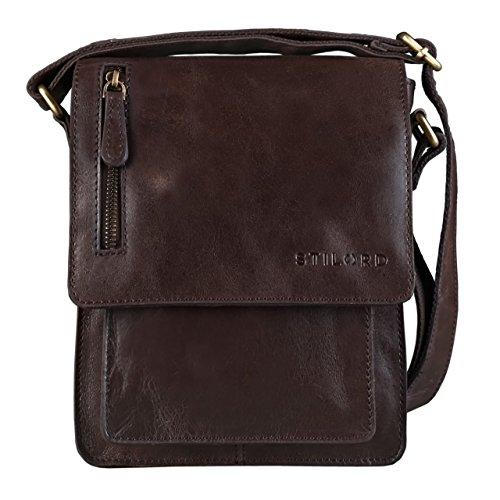STILORD 'Finn' kleine Umhängetasche Herren Schultertasche Vintage Messenger Bag 8,4 Zoll Tablettasche echtes Büffel-Leder , Farbe:schokoladen - braun (Schokolade Tasche Leder)