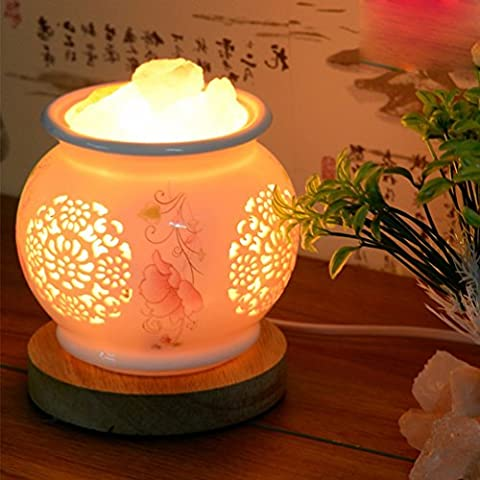 Kristall-salz-lampe Himalaya-nachtlicht Studie Strahlenschutz Keramik Tischlampe Warm Schlafzimmer Nachttischlampe,EIN