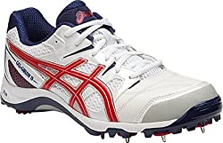 ASICS Mens Gel-Gully 5 White, True Red and Indigo Blue Cricket Shoes - 8 UK/India (42.5 EU)(9 US)