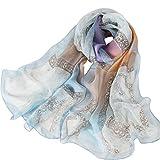 Foulard Donna 100% Seta Sciarpa Elegante Affascinante Ipoallergenico Regalo L-175 * 65cm (Blu arancio viola)