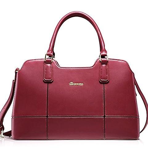 Teemzone Damen Tasche Umhängetasche Schultertasche Tagestasche Handtasche Leder Rot Frauen