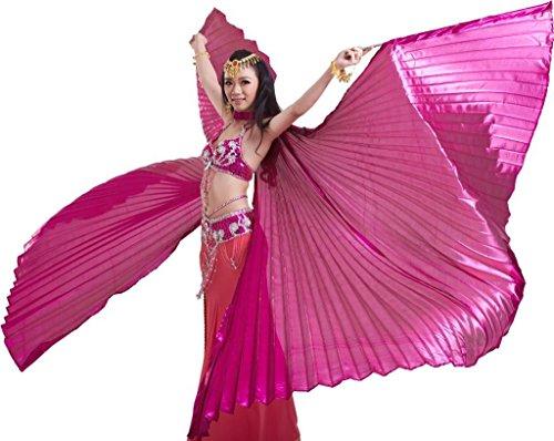 Dance Fairy Öffnungs Ägypten Bauchtanz Isis Flügel Karnevals Kostüme Damen, Rose (mit Stöcke/Stäbe)