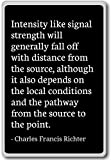 Intensity like signal strength will... - Charles Francis Richter - quotes fridge magnet, Black - Aimant de réfrigérateur