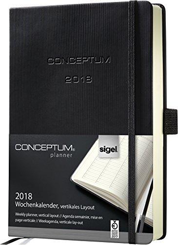 Sigel C1819 Agenda Semainier 2018 CONCEPTUM, couverture rigide, 14,8 x 21,3 cm, vertical, noir