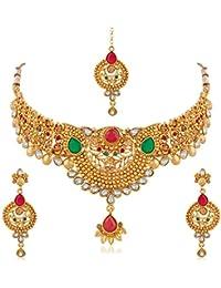 Apara Traditional Golden Necklace Set Maang Tikka With Kundan Ruby For Women/Girls