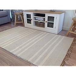 Alfombra con triple rayas de algodón natural y yute, color gris y blanco, 120x 180cm