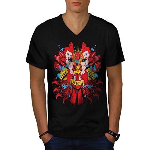 Punk ist Nicht Tot Sexy Meerjungfrau Herren XL V-Ausschnitt T-shirt | Wellcoda