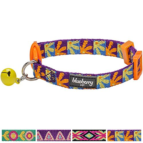 blueberry-pet-pack-of-1-cat-collar-abstract-daisies-with-orchid-webbing-adjustable-breakaway-cat-col