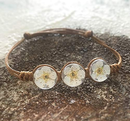 Handmade echte Blüten Leder-Armband Blumen weiß braun Glas 3 Kugeln indivudell verstellbar Express Versand