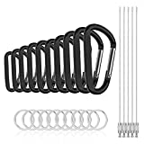 Michael Josh Baby Boys 8PCS 8CM Carabiner Keychain Clips with Keyring,Mini Aluminum D Paracord for Outdoor Backpack Hiking Traveling and Key Chain Ring(Black)