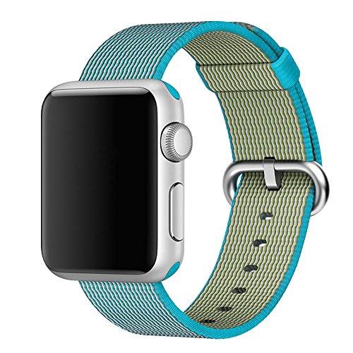Cuitan 42mm Nylon Tessere Cinturino di Orologio con Acciaio Inossidabile Adattatore per 42mm Apple Watch/Sport/Edition, (Vita Assortimento)