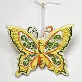 Farfalla piccola in ceramica dipinta a mano gialla e verde