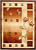 Kleiner Designer Moderner Teppich - Ideal Für Ihre Wohnzimmer Schlafzimmer Esszimmer - Braun Hell Beige Creme - 70 x 140 cm – CARPETO - Nepal Blumen Muster - Kurzflor Robust Pflegeleicht - Oeko-Tex Zertifikat - Verschiedene Farbe und Größen