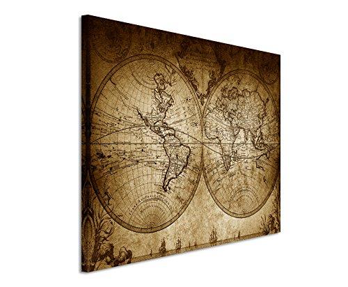 120x 80cm Cuadro Foto lienzo en sepia Vintage Mapa Del Mundo 1733