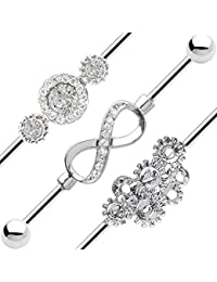 Industrial Piercing Barbell - 14ga Steampunk, Infinity and CZ Styles - 316L Surgical Steel by BodyJewelryOnline