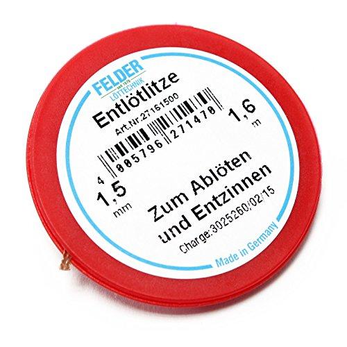 Felder Entlötlitze, rot, 1.6m, 1,5mm, flussmittelgetränkt zum Entlöten