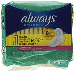 Always Ultra Regular With Wings, Clean Scent Thin Pads 16 Count