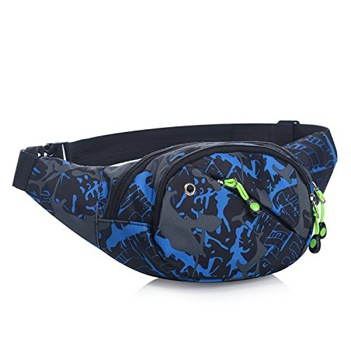 Marsupio Sportivo di Tela con 3 Zip-Marsupio con la Tracolla Regolabile per Corsa, Ciclismo, Escursione, Campeggio Blu