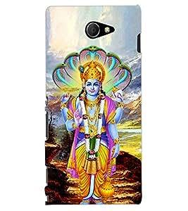 ColourCraft Lord Vishnu Design Back Case Cover for SONY XPERIA M2 DUAL D2302