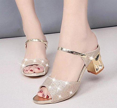 Frauen Sandalen Frauensandelholzen Frauenschuhe Gold