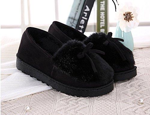 Fansela Femme pantoufle avec noeud papillon en coton chaussons chaud en peluche mignon à la maison confortable anti-dérapant Noir