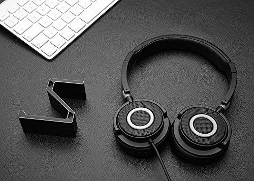 Kopfhörer Ständer, GVDV Kopfhörerhalterung aus Aluminium unter Schreibtisch Headset Halterung Kopfhörer halter Standplatz für alle Headset Kopfhörer (Schwarz) - 4