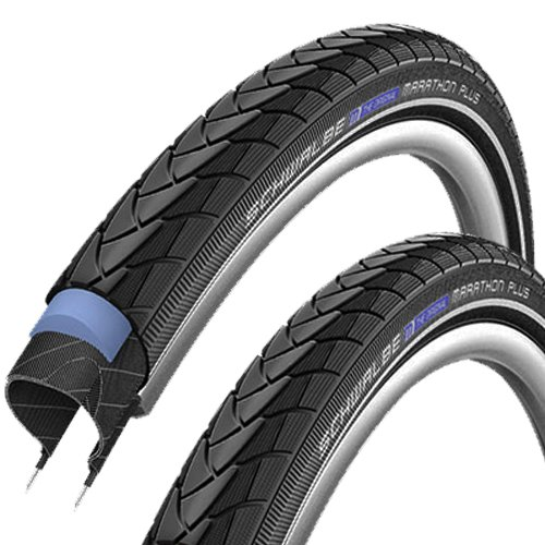 SCHWALBE Marathon Plus Modell 2014 (40-622) 28 x 1,5 Zoll, Set: 2 x Fahrradreifen für Trekking- Crossbike + 2 x Schläuche DV 17 Blitz Ventil