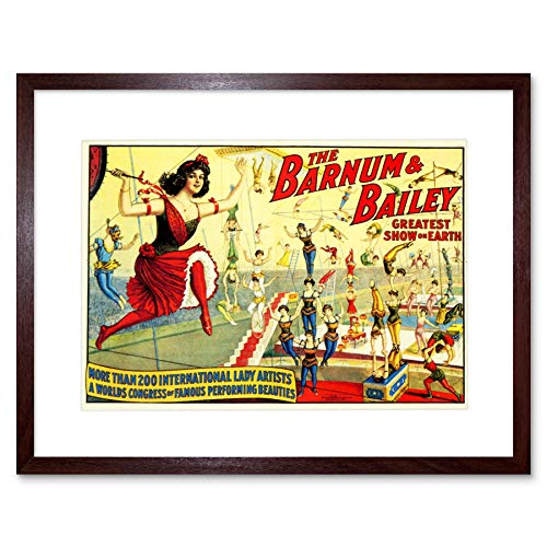 CIRCUS BARNUM BAILEY LADY ARTISTS ACROBAT TRAPEZE BIG TOP FRAMED PRINT B12X6593