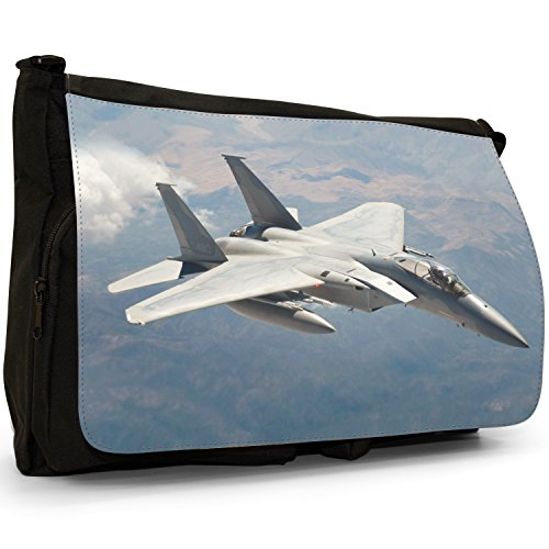 Fancy A Bag Borsa Messenger nero AV-8B Harrier US Navy Plane F-15 Eagle High On Sunny Day