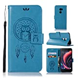 pinlu® Hülle Für HTC ONE X10 PU Leder Schutzhülle Flip Cover Mit Standfunktion & Magnetverschluß Kartenfach Design Cute Eule Windspiele Muster Blau