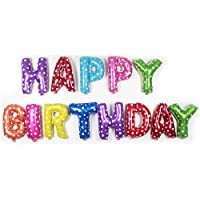 ��Colourful Alphabet 16-inch Letters foil Balloons Happy Birthday Party Decoration Supplies - Heartin & Star dotted - Multicolour - Inflating straw included - Easy inflate in 10 minutes