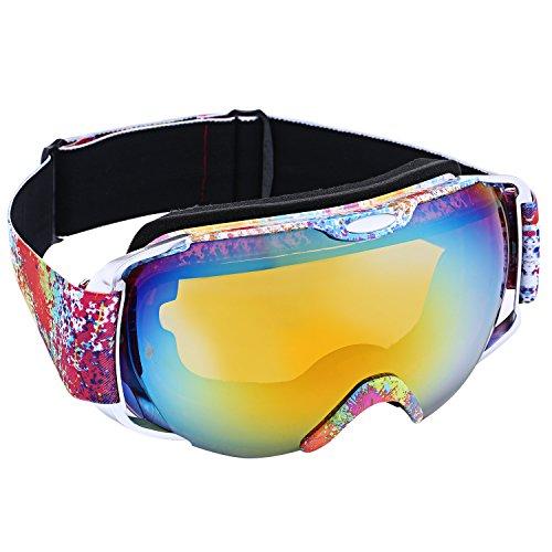 Bathwa occhiali da sci per adulti occhiali da snowboard occhiali otg staccabile anti-uv400, anti-nebbia, antivento, anti-polvere lente per sci, snowboaring, motoslitta (giallo)
