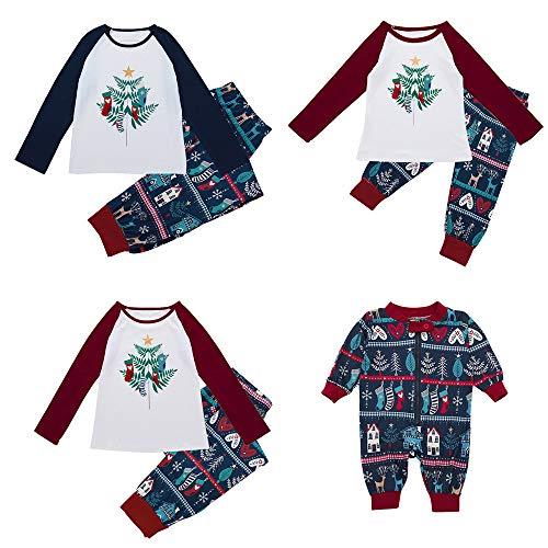 Riou Weihnachten Set Baby Kleidung Pullover Pyjama Outfits Set Familie Kid Baby Boy Mädchen Hood Strampler Overall Familie Pyjamas Nachtwäsche Weihnachten (L, Mom) -