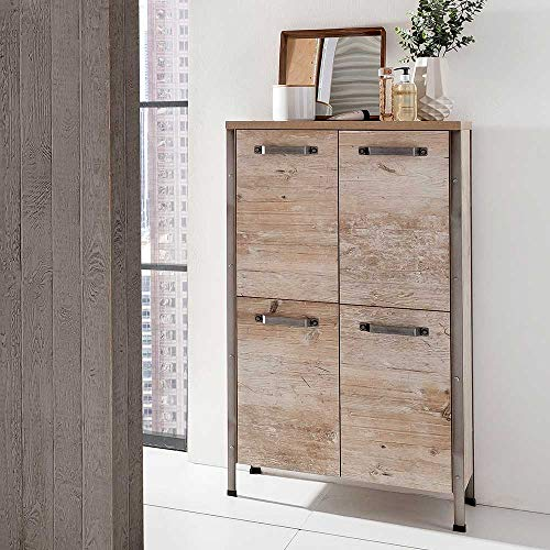 Pharao24 Bad Highboard in Eiche Grau Nachbildung Industry Style