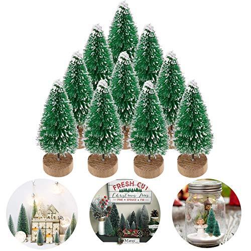 Künstlicher Weihnachtsbaum Tisch Tannenbaum Kunst Klein Deko, Unechter Weihnachtsbaum Kunst Christbaum Weihnacht Baum Tisch Deko Weihnachten Künstliche Weihnachtsbäume Tannenbäume(Grün, 4.5cm-10Stück)