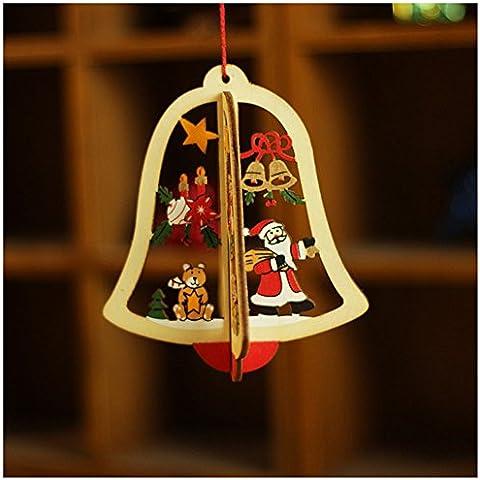 Auspicious beginning® Único de madera colgante de adorno de Navidad, campana