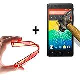 WoowCase | Flexible Gel Schutzhülle für [ Bq Aquaris E5s - E5 4G ] [ +1 Schutzglas ] Hartglas, Bq Aquaris E5s - E5 4G Hülle Case TPU Silikon in Rot
