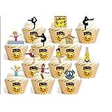 12 x - Mezcla de gimnasia - dibujos animados Decoración Impreso en Papel Comestible Personalizacion de Reposteria Feliz Cumpleaños