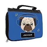 Kulturbeutel mit Namen Janosch und schönem Motiv - Mops mit Kopfhörer - für Jungen | Kulturtasche mit Vornamen | Waschtasche für Kinder