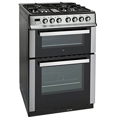 51h5u6QbnML. SS500  - iQ 60cm Double Oven Dual Fuel Cooker - Stainless Steel