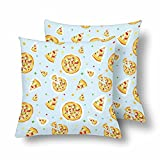 Lepilo Colorful Cartoon Pizza Confetti Throw Pillow Covers 18x18 Set of 2, Pillow Cushion Cases Pillowcase for Home Couch Sofa Bedding Decorative